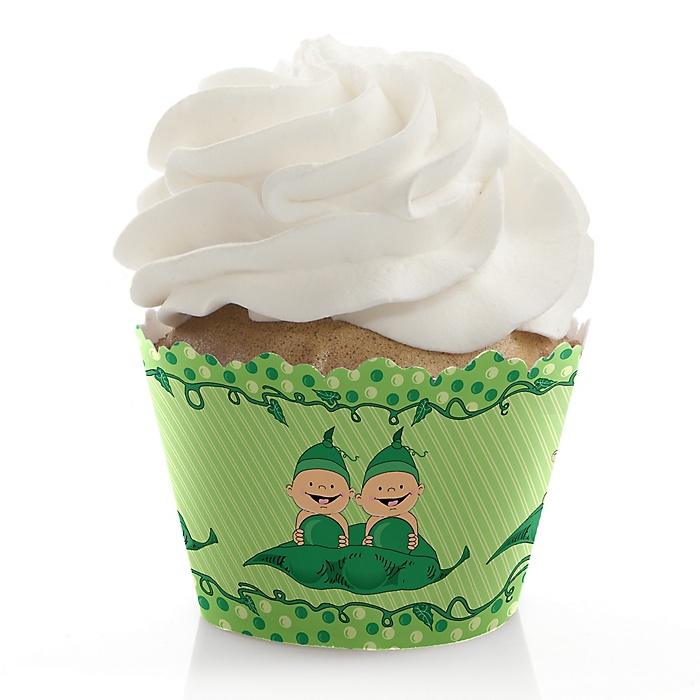 Twins Two Peas in a Pod - Baby Shower Decorations - Party Cupcake Wrappers - Set of 12