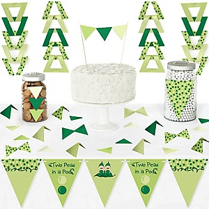 Twins Two Peas in a Pod - DIY Pennant Banner Decorations - Baby Shower or First Birthday Party Triangle Kit - 99 Pieces