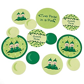 Twins Two Peas in a Pod - Baby Shower or Birthday Party Giant Circle Confetti - Twins Party Decorations - Large Confetti 27 Count