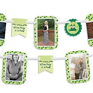 Twins Two Peas in a Pod - Girl Baby Shower Photo Garland Banners