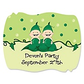 Twins Two Peas in a Pod - Personalized Girl Baby Shower or Birthday Party Squiggle Stickers - 16 ct