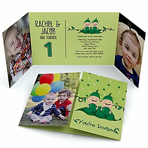 Twins Two Peas in a Pod - Personalized Birthday Party Photo Invitations - Set of 12