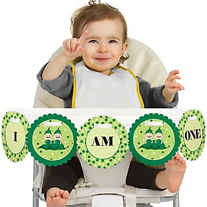 Twins Two Peas in a Pod 1st Birthday - I am One - First Birthday High Chair Banner