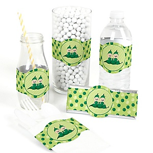 Twins Two Peas in a Pod - DIY Girl Baby Shower or Birthday Party Wrappers - 15 ct