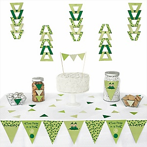 Twins Two Peas in a Pod -  Triangle Girl Baby Shower or Birthday Party Decoration Kit - 72 Piece