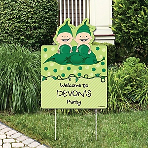 Twins Two Peas in a Pod - Party Decorations - Birthday Party or Baby Shower Personalized Welcome Yard Sign