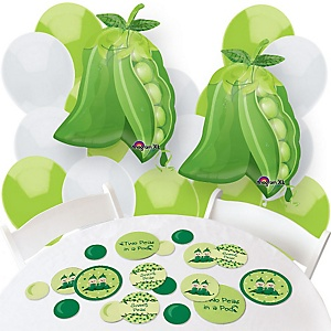 Twins Two Peas in a Pod - Confetti and Balloon Party Decorations - Combo Kit