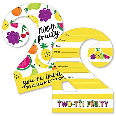 Two tti fruity 2nd birthday shaped fill in invitations frutti two tti fruity 2nd birthday shaped fill in invitations frutti summer second birthday party invitation cards with envelopes set of 12 filmwisefo