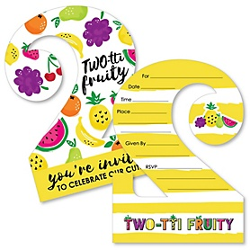 TWO-tti Fruity - 2nd Birthday - Shaped Fill-In Invitations - Frutti Summer Second Birthday Party Invitation Cards with Envelopes - Set of 12
