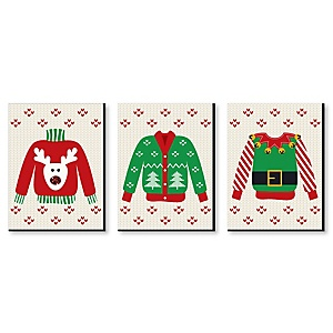 Ugly Sweater - Christmas Wall Art and Holiday Decorations - 7.5 x 10 inches - Set of 3 Prints