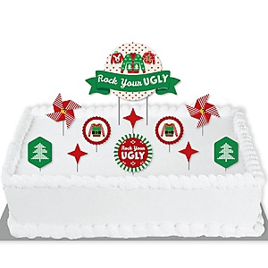 Ugly Sweater - Holiday and Christmas Party Cake Decorating Kit - Rock Your Ugly Cake Topper Set - 11 Pieces