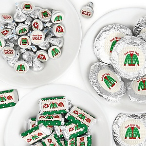 Ugly Sweater - Mini Candy Bar Wrappers, Round Candy Stickers and Circle Stickers - Holiday and Christmas Party Candy Favor Sticker Kit - 304 Pieces