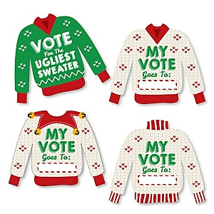 Ugly Sweater - Cast Your Vote Cards - Holiday and Christmas Party Game - Set of 24