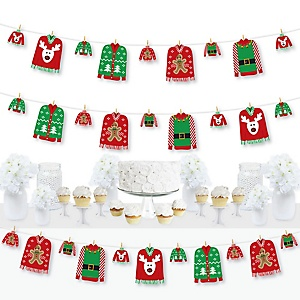 Ugly Sweater - Holiday and Christmas Party DIY Decorations - Clothespin Garland Banner - 44 Pieces