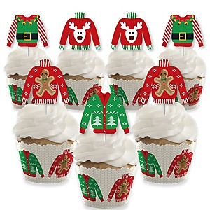 Ugly Sweater - Cupcake Decoration - Holiday and Christmas Party Cupcake Wrappers and Treat Picks Kit - Set of 24