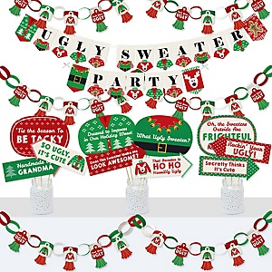 Ugly Sweater - Banner and Photo Booth Decorations - Holiday and Christmas Party Supplies Kit - Doterrific Bundle