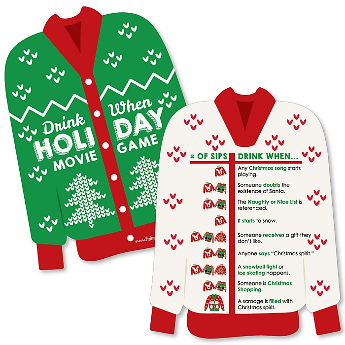 Ugly Sweater - Drink When Christmas Movie Party Game Cards - Drinking Game - 20 cards