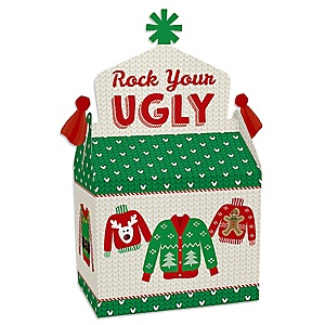 Ugly Sweater - Treat Box Party Favors - Holiday and Christmas Party Goodie Gable Boxes - Set of 12