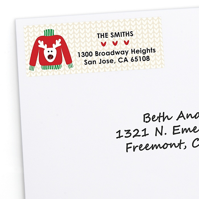 Ugly Sweater - 30 Personalized Holiday & Christmas Party Return Address Labels