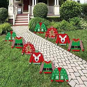 ugly sweater sweater lawn decorations outdoor holiday christmas yard decorations 10 piece