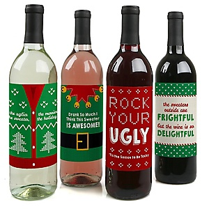 Ugly Sweater - Holiday & Christmas Decorations for Women and Men - Wine Bottle Label Stickers - Set of 4