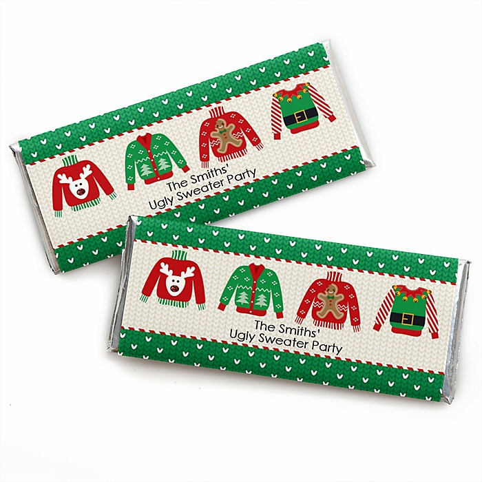 Ugly Sweater - Personalized Candy Bar Wrapper Holiday & Christmas Party Favors - Set of 24