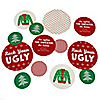 Ugly Sweater - 27 Personalized Holiday & Christmas Party Giant Circle Confetti - Tacky Sweater Party Decorations - Large Confetti 27 Count