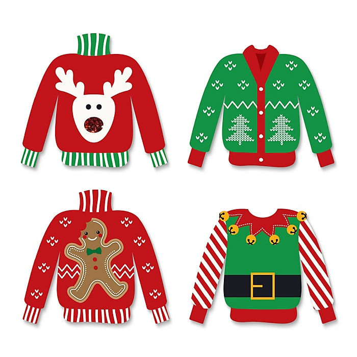 Ugly Sweater - 24 DIY Shaped Holiday & Christmas Party Cut-Outs