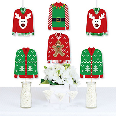 ugly sweater sweater decorations diy holiday christmas party essentials set of 20 bigdotofhappinesscom - Essential Christmas Decorations