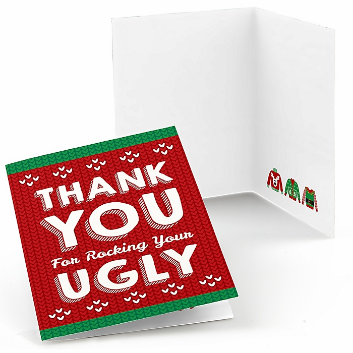 Ugly Sweater - Holiday & Christmas Party Thank You Cards  - 8 ct