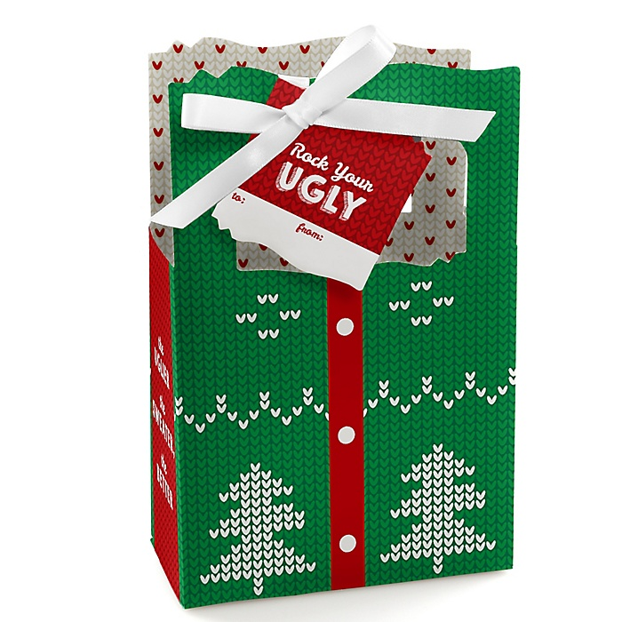 Ugly Sweater - Holiday & Christmas Party Gift Favor Boxes - Set of 12