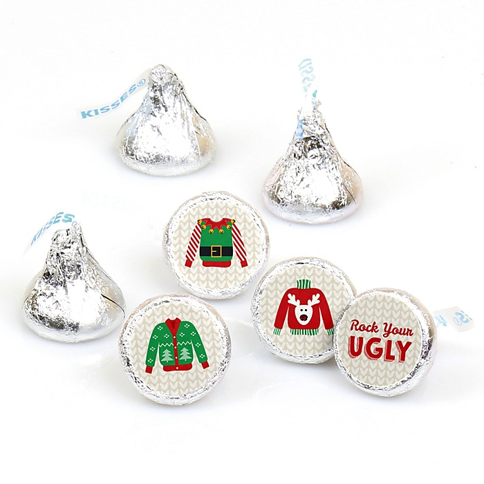 Ugly Sweater - Round Candy Labels Holiday & Christmas Party Favors - Fits Hershey Kisses - 108 ct