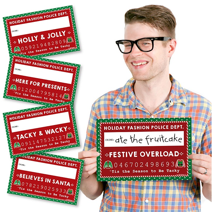 Ugly Sweater - Holiday & Christmas Party Mug Shots - 20 Piece Photo Booth Props Kit