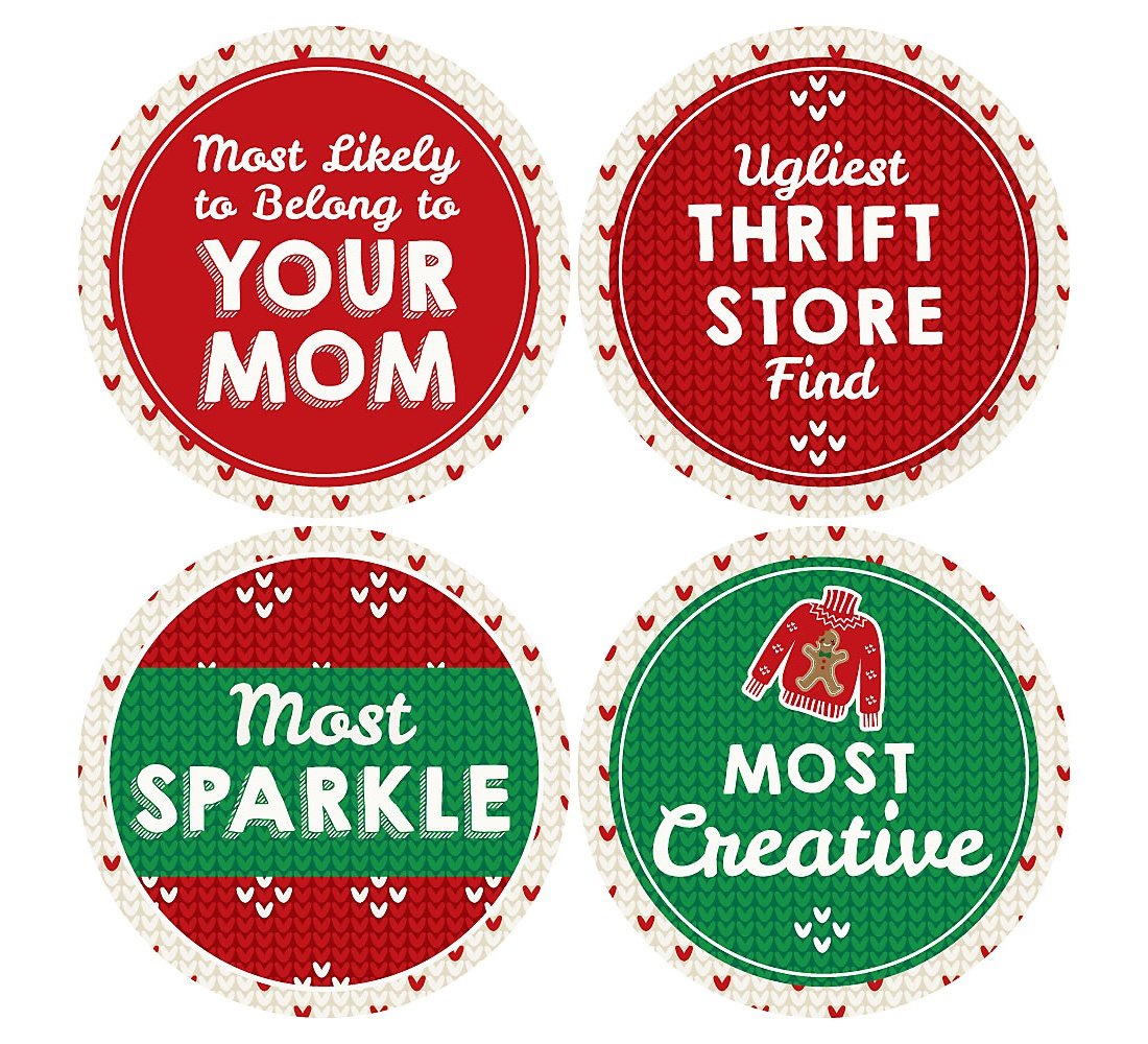 Funny Christmas Party Names.Ugly Sweater Contest Awards Christmas Holiday Party Funny Name Tags Party Badges Sticker Set Of 12