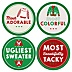 Ugly Sweater Contest Awards – Christmas & Holiday Party Funny Name Tags - Party Badges Sticker Set of 12
