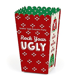 Ugly Sweater - Personalized Holiday & Christmas Party Popcorn Favor Treat Boxes - Set of 12