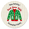 Ugly Sweater - Round Personalized Holiday & Christmas Party Sticker Labels - 24 ct