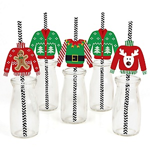 Ugly Sweater - Paper Straw Decor - Holiday & Christmas Party Striped Decorative Straws - Set of 24