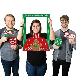 Ugly Sweater - Personalized Holiday & Christmas Party Selfie Photo Booth Picture Frame & Props - Printed on Sturdy Material