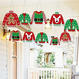 Hanging Ugly Sweater - Outdoor Holiday & Christmas Hanging Porch & Tree Yard Decorations - 10 Pieces