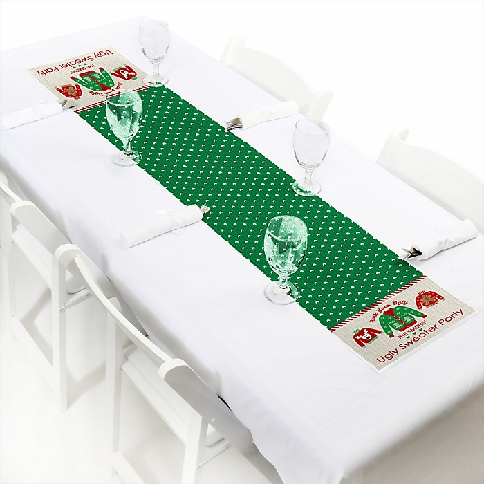 """Ugly Sweater - Personalized Petite Holiday & Christmas Party Table Runner - 12"""" x 60"""""""