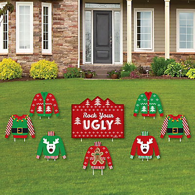 Ugly sweater yard sign outdoor lawn decorations for Amazon christmas lawn decorations