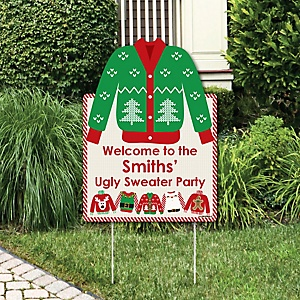 ugly sweater party decorations holiday christmas personalized welcome yard sign