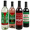 Ugly Sweater - Holiday & Christmas Wine Bottle Label Stickers - Set of 4