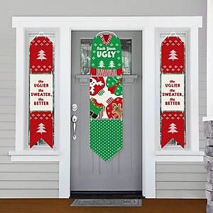 Ugly Sweater - Hanging Porch Front Door Signs - Holiday and Christmas Party Banner Decoration Kit - Outdoor Door Decor