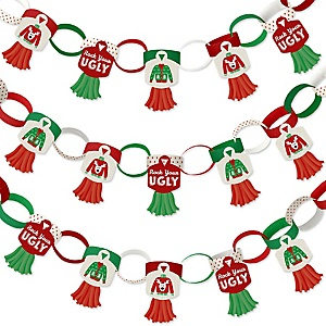 Ugly Sweater - 90 Chain Links and 30 Paper Tassels Decoration Kit - Holiday and Christmas Party Paper Chains Garland - 21 feet