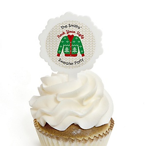 Ugly Sweater - Cupcake Picks with Personalized Stickers - Holiday & Christmas Party Cupcake Toppers - 12 ct