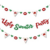 Ugly Sweater - Holiday & Christmas Party Letter Banner Decoration - 36 Banner Cutouts and Ugly Sweater Party Banner Letters