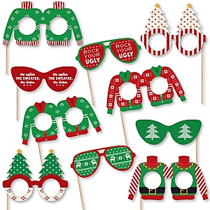 Ugly Sweater Glasses and Masks - Paper Card Stock Holiday & Christmas Party Photo Booth Props Kit - 10 Count
