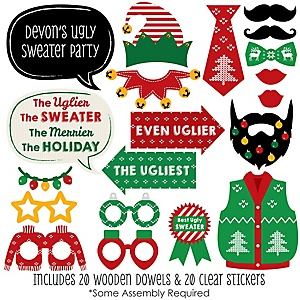 Ugly Sweater - Holiday & Christmas Party Photo Booth Props Kit - 20 Count